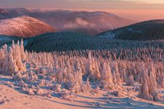 Mountain landscape panoramic view with blue sky Gorgeous winter sunset in Tatra mountains Alps. Colorful outdoor scene, Christmas. Mountain landscape panoramic stock photos