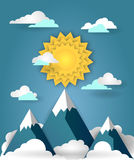 Mountain landscape paper art banner Royalty Free Stock Photography