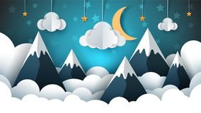 Mountain Landscape Paper Illustration. Cloud, Star, Moon, Sky. Stock Photos