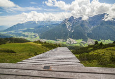 Mountain landscape with paraglide ramp. Austrian Alps royalty free stock image
