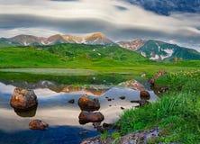 Mountain landscape at Paramushir Island, Russia Royalty Free Stock Images