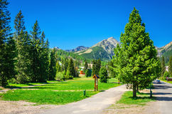 Mountain landscape, the path leading to mountains Stock Photo