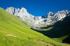 Mountain landscape of the peaks of Chauchi. Great place to travel Royalty Free Stock Image