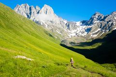 Mountain landscape of the peaks of Chauchi. View of a beautiful mountain valley with peaks of Chauchi Stock Images