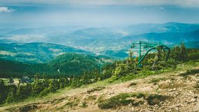 Mountain landscape. Polish mountains. Pilsko. Ski lift stock photo