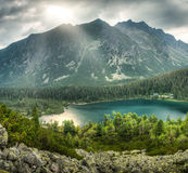 Mountain landscape with pond Stock Photos