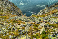 Mountain landscape with pond and mountain chalet Stock Images
