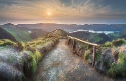 Mountain landscape Ponta Delgada island, Azores Portugal royalty free stock photo