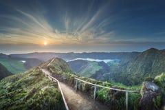 Mountain landscape Ponta Delgada island, Azores Portugal stock image
