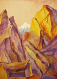 Mountain landscape. Mountain purple and orange and the white peak Stock Images