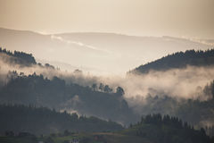 Mountain landscape after rain. Clouds of fog. Royalty Free Stock Images