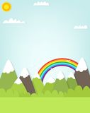 Mountain landscape and rainbow. Royalty Free Stock Photography