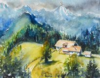 Mountain landscape watercolors painted. royalty free stock photo