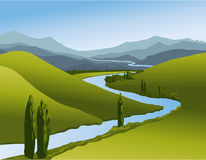 Mountain landscape with river Stock Photos