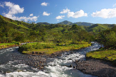 Mountain landscape with a river. In Monteverde (Costa Rica Royalty Free Stock Photography