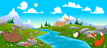 Mountain landscape with river and animals. Cartoon and vector illustration vector illustration