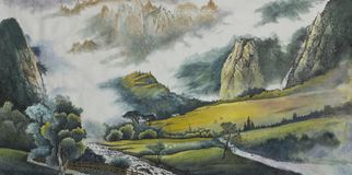 Mountain landscape with a sieve and fields. Mountain landscape with a river and fields painted in Chinese style Royalty Free Stock Images
