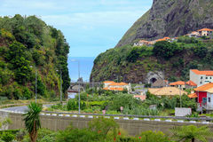 Mountain landscape. The road going to the ocean. Island Madeira royalty free stock photo