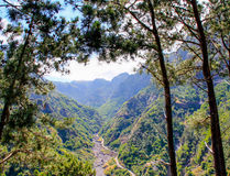 Mountain landscape. The road between the mountains. Island Madeira royalty free stock photography