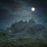 Mountain landscape with rocky peaks at night Stock Photography