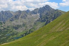 Mountain landscape with rocky slopes and lakes. View from the top of Kasprowy Wierch, Poland. Mountain landscape with rocky slopes and lakes. View from the top stock image