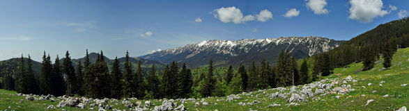 Spring. Mountain landscape - Piatra Craiului massif - landmark attraction in Romania stock photo