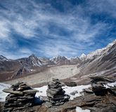 Mountain landscape in Sagarmatha National park. View from Chukhung Ri, Everest region, Nepal Stock Images