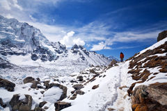 Mountain landscape in Sagarmatha National Park, Nepal Himalaya. Road to Everest base camp in Sagarmatha National Park, Nepal Royalty Free Stock Photos