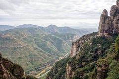 Mountain landscape at the Santa Maria de Montserrat monastery. S Royalty Free Stock Image