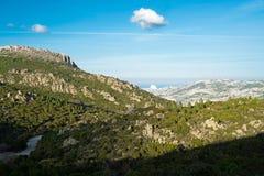 Mountain landscape in Sardinia. Mountain landscape along Road 125 between Baunei and Dorgali, Sardinia, Italy Royalty Free Stock Photo