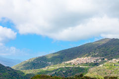 Mountain landscape with Savoca village in Sicily Stock Image