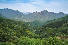 Mountain landscape seen from the majestic Great Wall. Mountain landscape seen from the majestic Great Wall Royalty Free Stock Photography