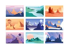 Mountain landscape set, scenes of nature in different time of year vector Illustration. Horizontal nature background Stock Photography