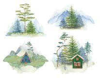 Mountain landscape set. Watercolor forest house. Nature travel. Green sppruce forest. Blue mountains