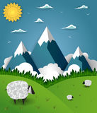 Mountain landscape with sheep on field Royalty Free Stock Photography