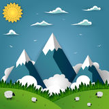 Mountain landscape with sheep on field Royalty Free Stock Images