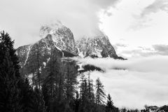 Mountain landscape shrouded in the fog. Stock Images