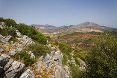 Mountain landscape at Sierra. De la Cabrera, Madrid, Spain. It is a granite batholith where geologic forces have created a boulder field of eroded granitic Stock Photography