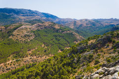 Mountain landscape at Sierra. De la Cabrera, Madrid, Spain. It is a granite batholith where geologic forces have created a boulder field of eroded granitic Royalty Free Stock Photo
