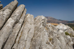 Mountain landscape at Sierra. De la Cabrera, Madrid, Spain. It is a granite batholith where geologic forces have created a boulder field of eroded granitic Royalty Free Stock Photos