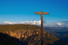 Mountain landscape with sign on sunny day, Australia Stock Photo