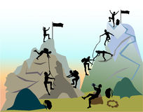 Mountain landscape with silhouettes of climbers Stock Images