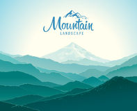 Mountain landscape. The silhouettes of the mountains against the dawn. And the elements of the logo Stock Photo