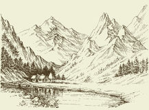 Mountain landscape sketch Royalty Free Stock Photo