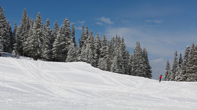 Mountain landscape and skier Stock Images