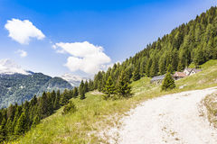 Mountain landscape with small farm (malga , Alpine hut.)for moun Royalty Free Stock Images