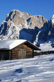 Mountain landscape, snow, chalet. A mountain landscape with a chalet in the snow Stock Photos