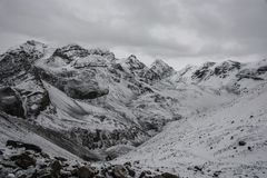 Mountain landscape on the snow-covered Thorong La pass, Nepal. Stock Photo