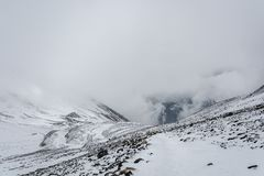 Mountain landscape on the snow-covered Thorong La pass, Nepal. Royalty Free Stock Photo