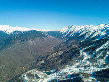 Mountain landscape in Sochi, the Caucasus. View from Air Royalty Free Stock Photo